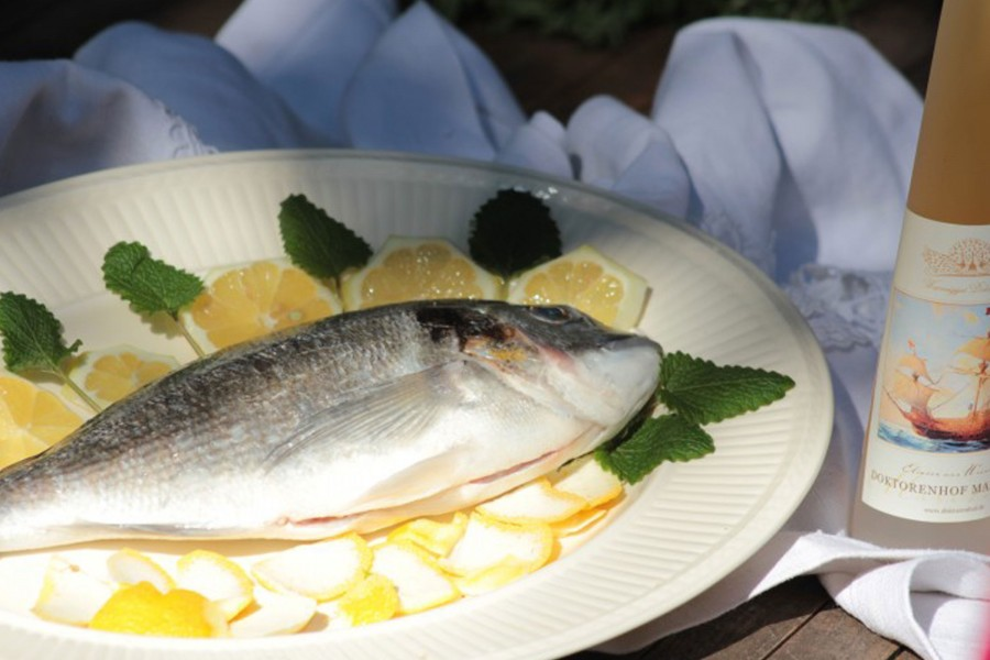 Steamed sea bream on limes with maritime vinegar