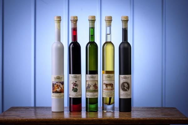 Probierset mit 5 verschiedenen Trinkessigen 5 Pavo Flaschen à 125 ml